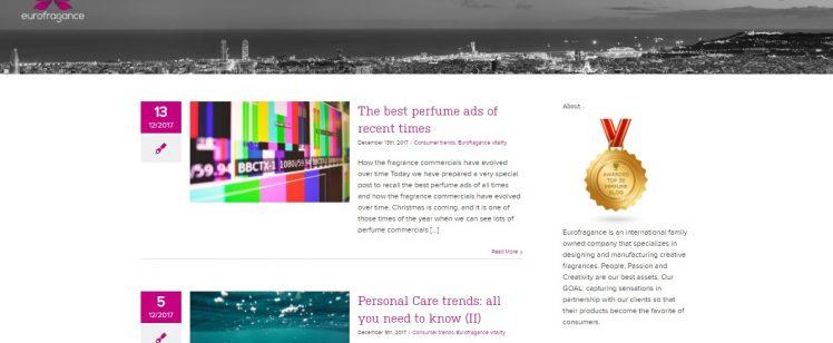 El blog de nuestro cliente Eurofragance, entre los 50 mejores blogs sobre perfumes según Feedspot